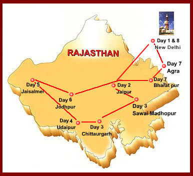 royal rajasthan on wheels travel map